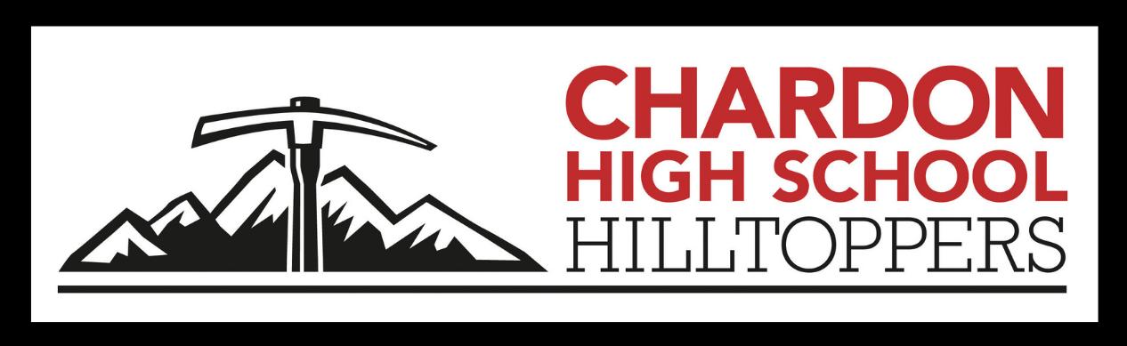 Chardon High School Hilltoppers mountain axe logo (red, white & black) with black border