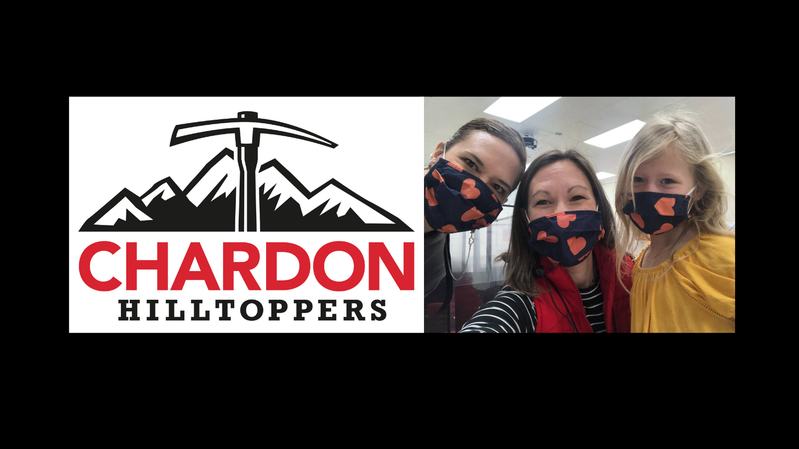 Chardon Hilltoppers mountain axe logo; photo of two KDG teachers - Mrs. Maheu and Mrs. Ridgeway- with a student