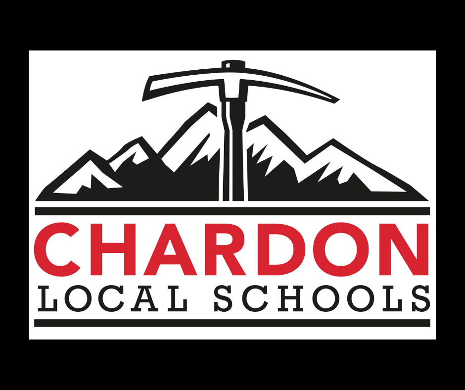 Chardon Local Schools mountain axe logo (white, red, black) on a black background