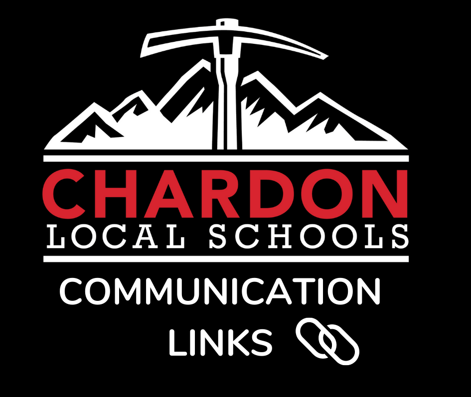 Communications Link Graphic with Chardon Local Schools mountain axe logo and links image