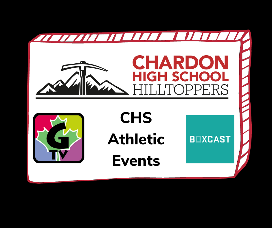 """Click this image to be directed to the Chardon High School ATHLETIC EVENTS channel; image features the Chardon High School Hilltoppers mountain axe logo; G-TV logo; Boxcast logo; and """"CHS Athletic Events"""" subheading"""