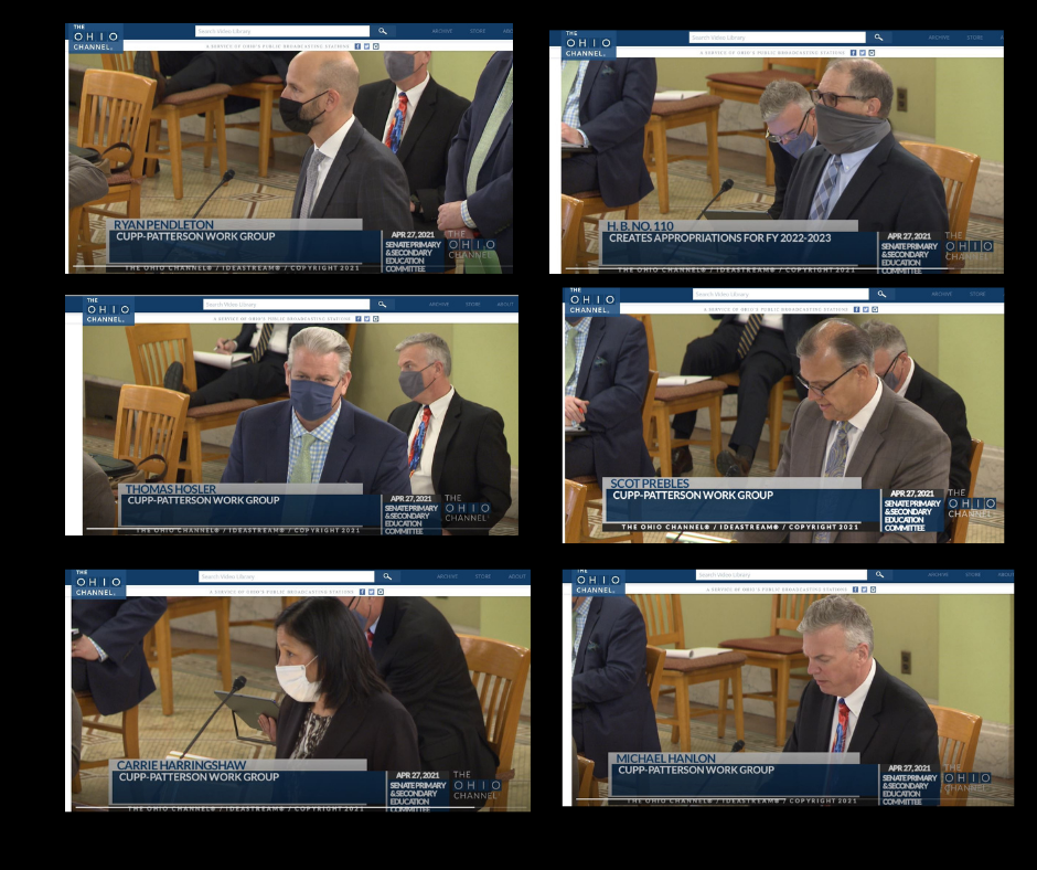 collage image of still shots from April 27 State Senate Hearing:  Cupp-Patterson workgroup members:  Mr. Pendleton, Mr. Sobul, Mr. Hosler, Mr. Prebles, Ms. Harringshaw, and Dr. Hanlon