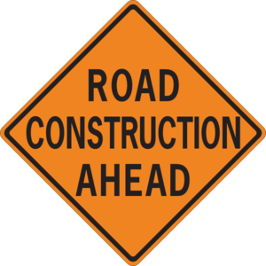 Road Construction Ahead street sign - free clipart image