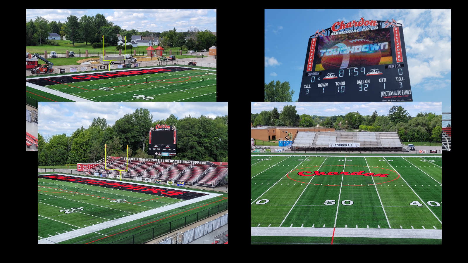 collage photo (4 photos) of Chardon Memorial Field - new turf and scoreboard - summer 2021
