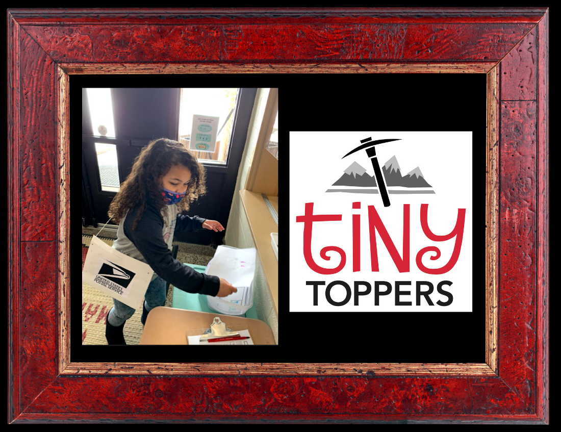 """red frame with black background overlaid with photos:  KDG student carrying a crafted mailbag and """"delivering"""" mail; and Tiny Toppers mountin axe logo - red/black/white"""