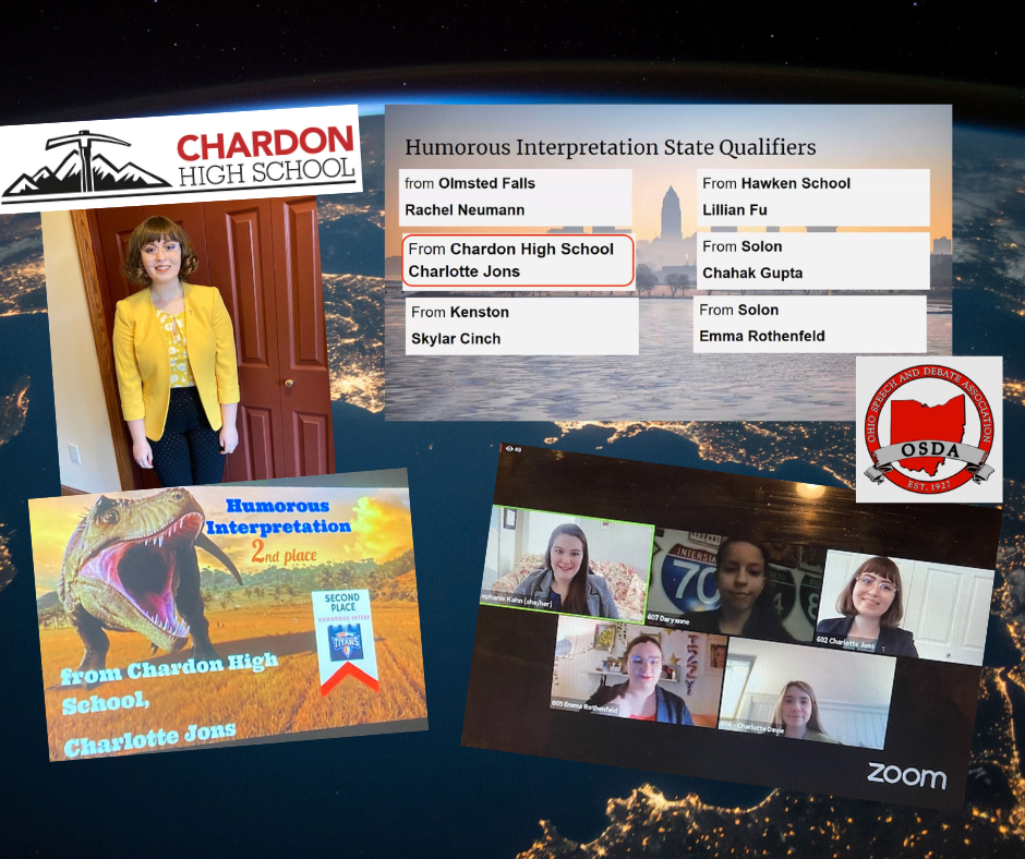collage photo:  CHS freshman Charlotte Jons, listing of OSDA Humorous Interpretation State Qualifiers, OSDA logo and photo of Charlotte as part of a Zoom event in 2020-21