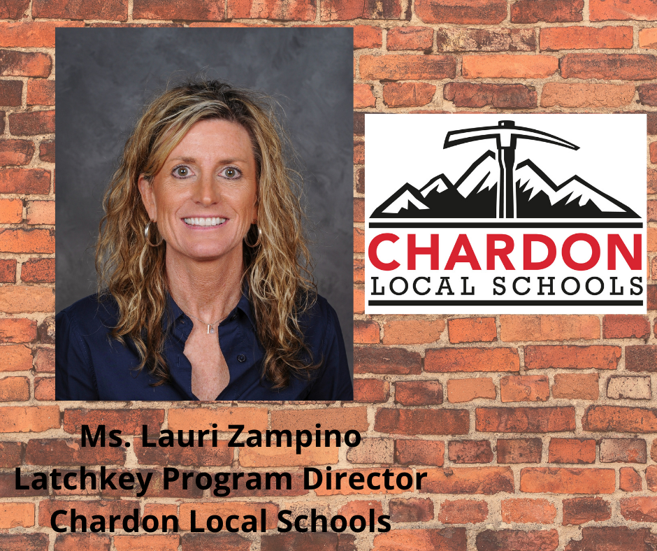 staff photo of Latchkey Program Director Ms. Lauri Zampino (photo credit:  Pastor Photography) and Chardon Local Schools mountain axe logo - both photos set on the background of a brick building