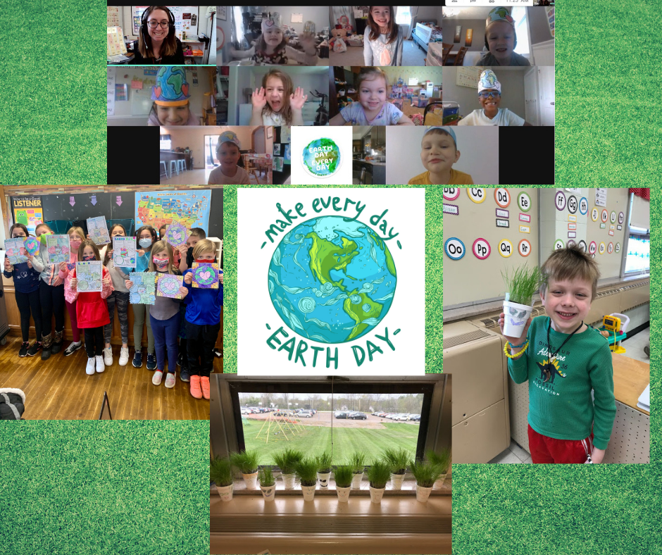 collage photo:  Mrs. Klembara's virtual class on-screen wearing their Earth Day hats; Tiny Toppers preK student smiling while he holds his potted cup of grass he grew; window sill view of Tiny Toppers preK cups of flourishing grass planted by students; group photo of Mrs. Peterson's class holding up their Earth Day drawings; and center photo is the Make Every Day Earth Day logo featuring a globe