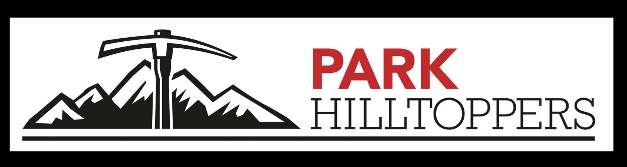 Park Hilltoppers mountain axe logo (red, black and white) framed with a black border