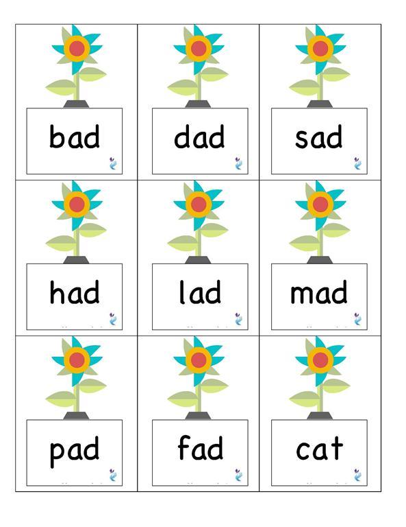flowers with bad, dad, sad, had, lad, mad, pad, fad, cat