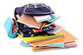 Book bag with Stack of School Supplies