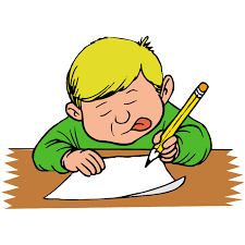 Boy Writing With Tongue Out