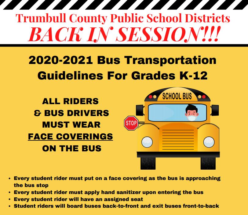 2020-2021 Bus Transportation Guidelines For Grades K-12 Flyer