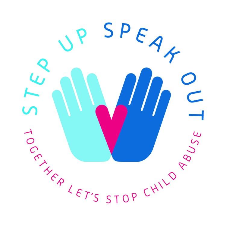 Step up.  Speak Out.  Together Let's Stop Child Abuse Logo