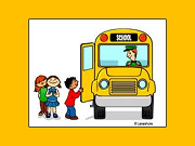 Cute graphic of students getting on school bus