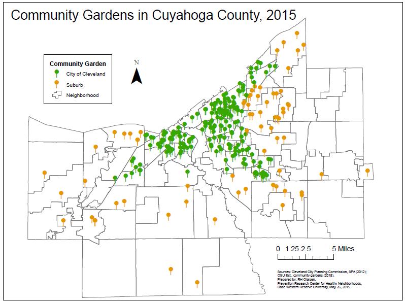 JPG of Community Gardens map
