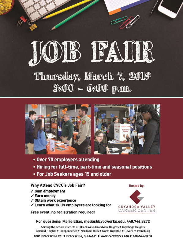 Job Fair at CVCC March 7 at 3:00