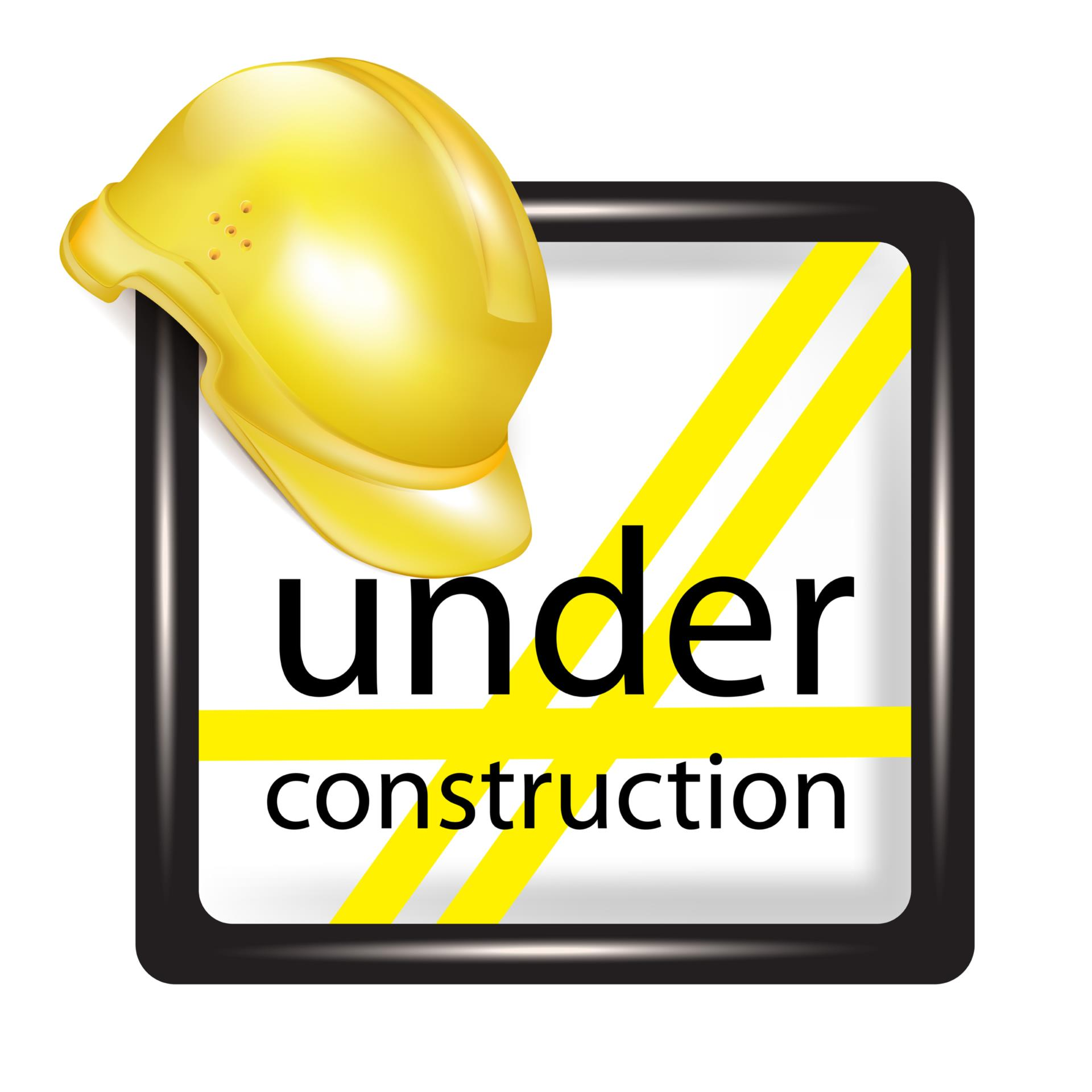 Hard hat with under construction sign