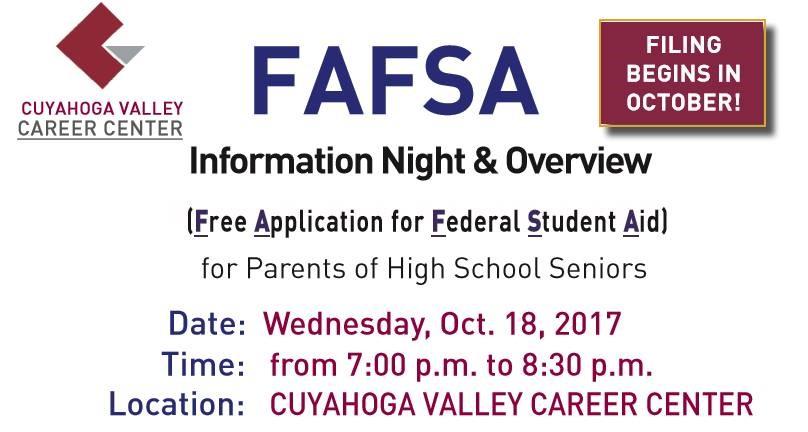 FAFSA Info Night on Oct. 18 at 7:00 p.m.
