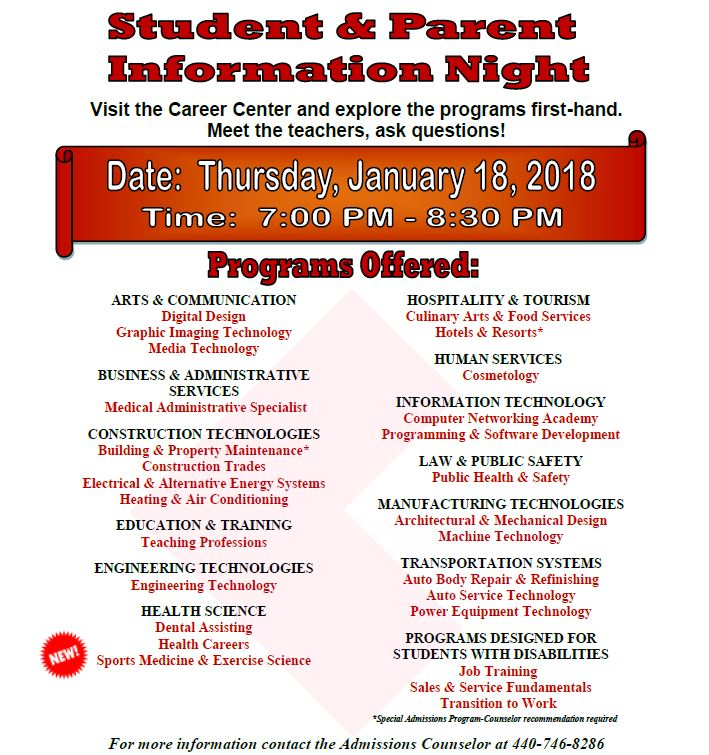 Student Parent Information Night on Jan. 18