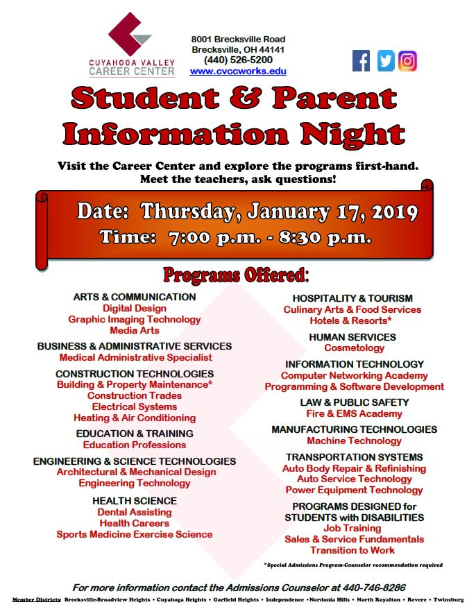 Student Parent Information Night Jan. 17