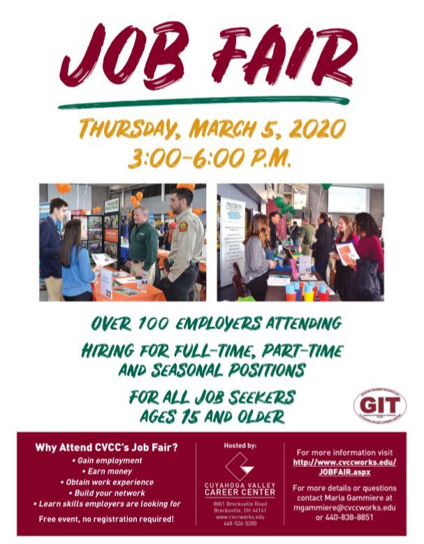 Job Fair at CVCC March 5 at 3:00