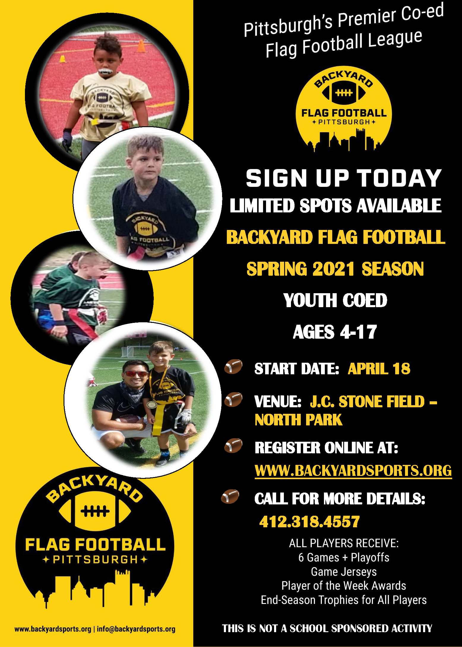 The Spring Season registration is here for youth coed flag football! Sign up now for there are limited spots available!