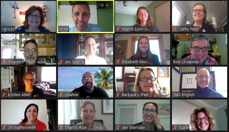 Staff at a Zoom meeting