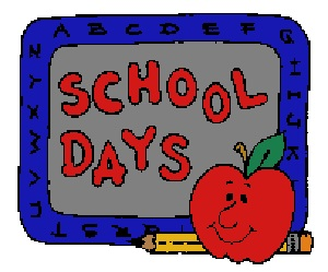 School Days - Apple and Pencil with chalkboard