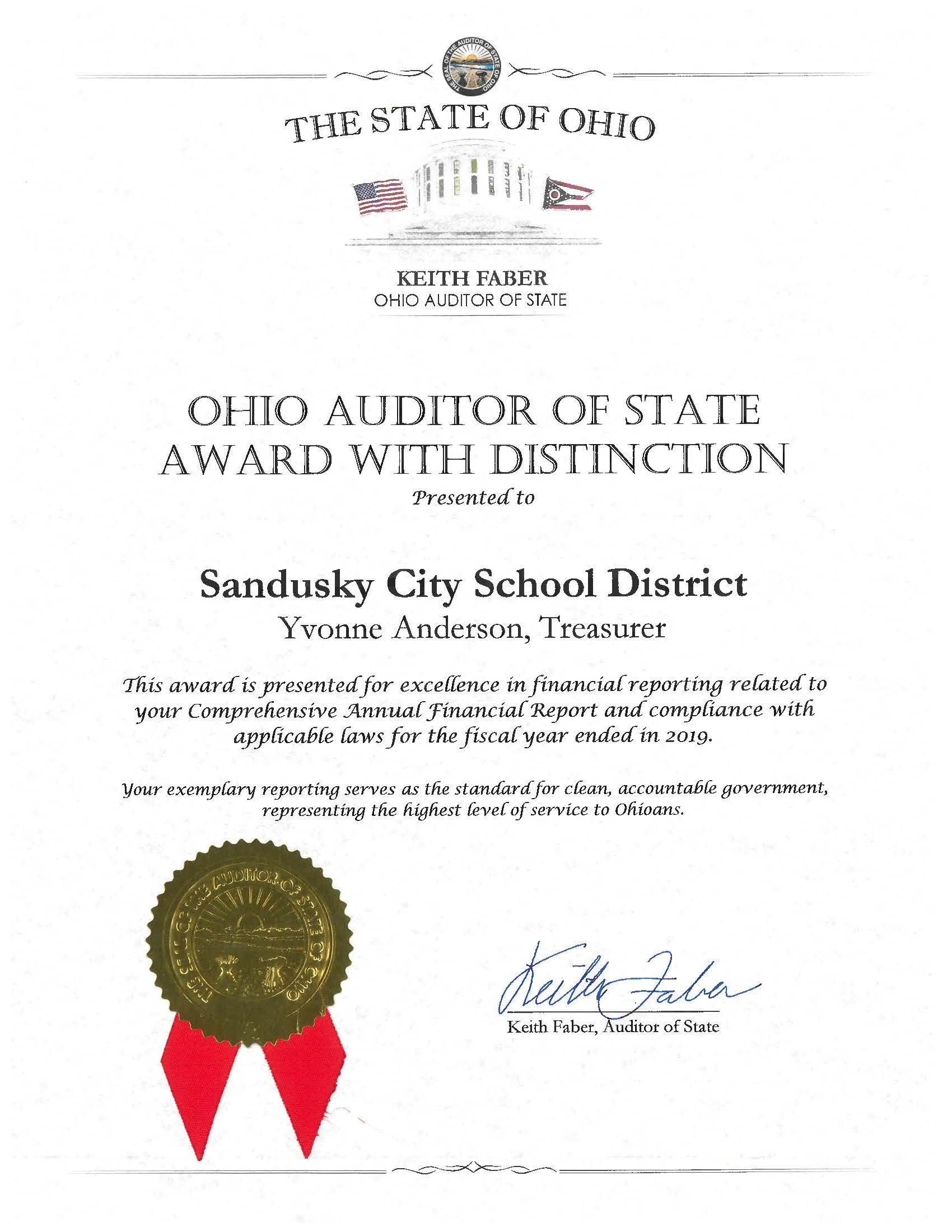Auditor of the State Award with Distinction
