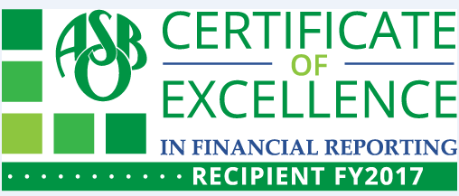 Certficate of Excellence in Financial Reporting for 2017