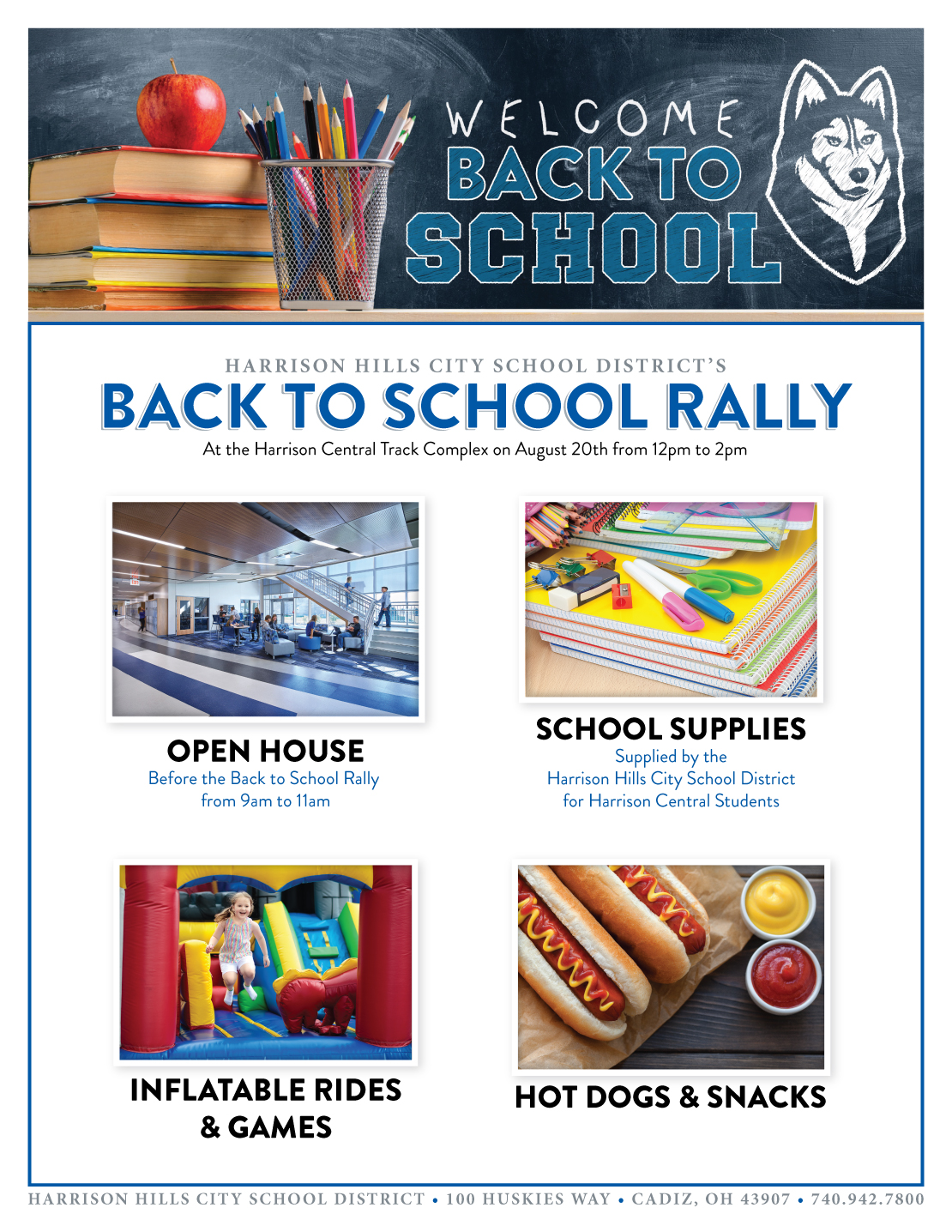 Harrison Hills City School District's Back to School Rally will be at the Harrison Central Track Complex on August 20th from 12pm to 2pm. There will be an open house before the Back to School Rally from 9am to 11 am. The rally will include school supplies supplied by the Harrison Hills City School District for Harrison Central Students, inflatable rides and games, and hot dogs and snacks.