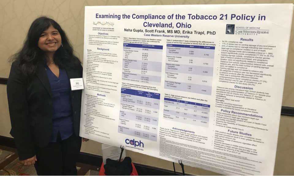 Student Neha Gupta with her prize-winning poster from the OPHA conference