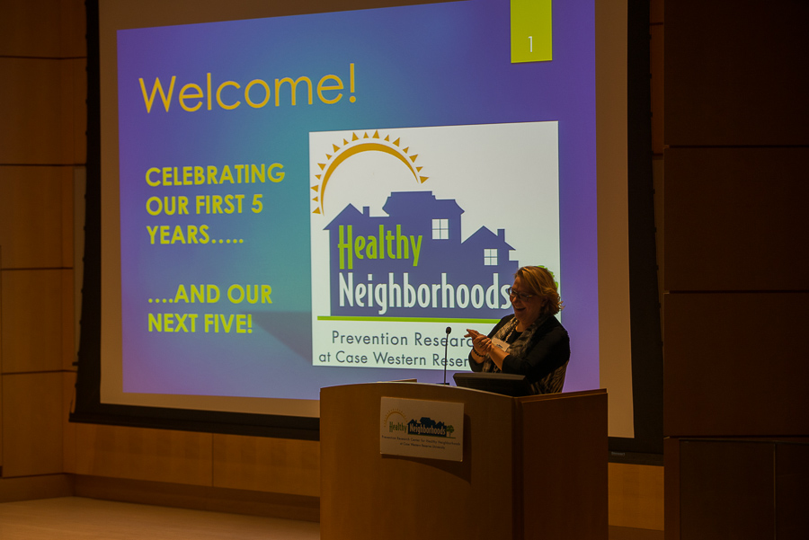 Dr. Elaine Borawski welcomes guests at PRCHN reception on October 6, 2014