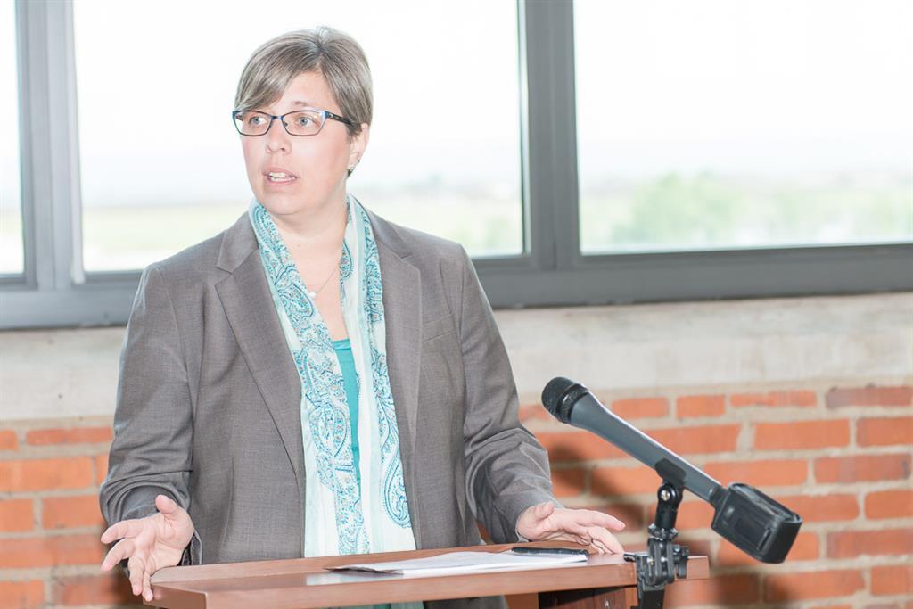 PRCHN Affiliated Faculty Dr. Heidi Gullett presenting at HIP-C Plan launch