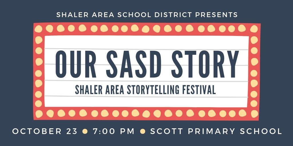 Our SASD Story Shaler Area Storytelling Festival in theater lights