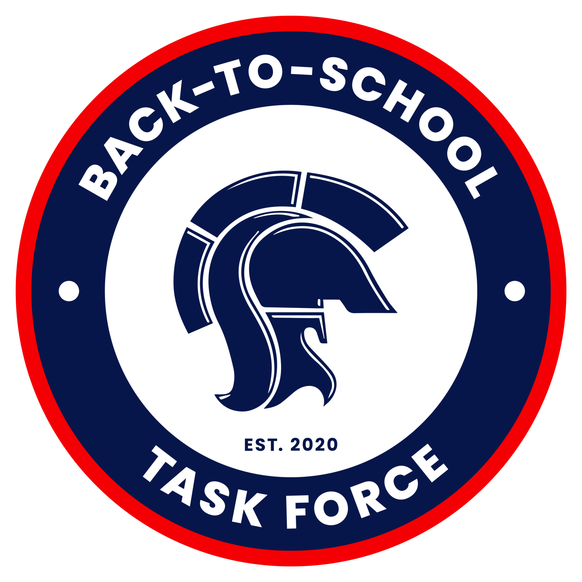 Back-to-School Task Force est. 2020 around Titan Head logo