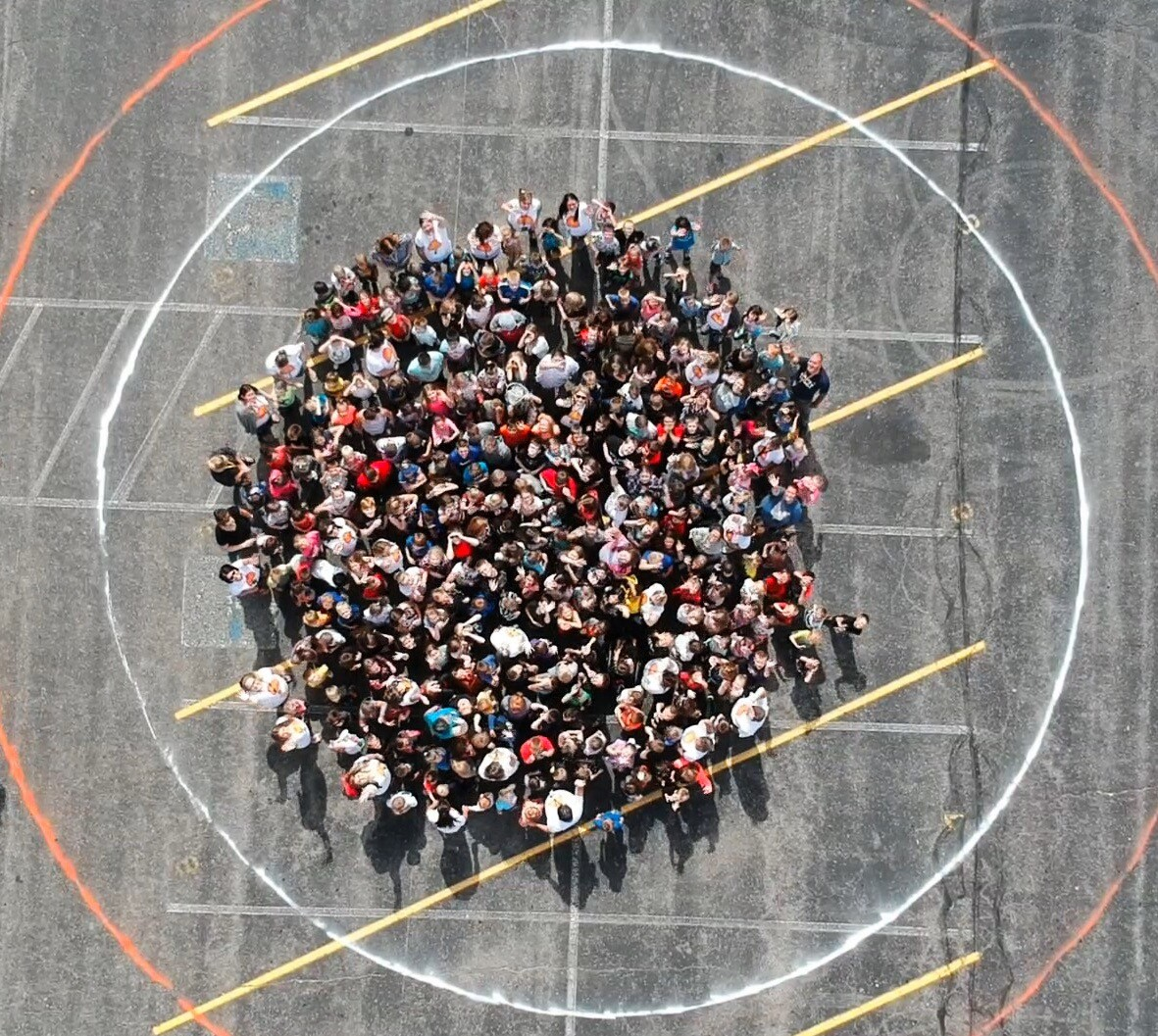 Aerial view of students and staff