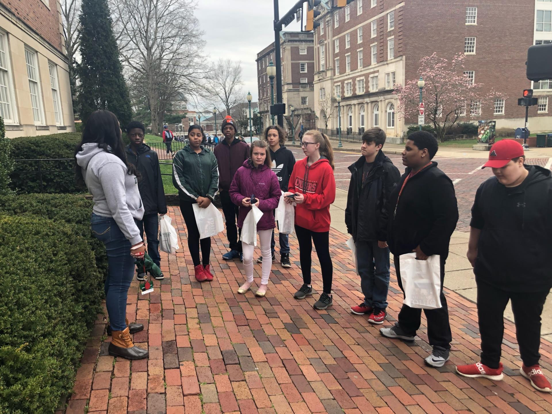 students on campus tour