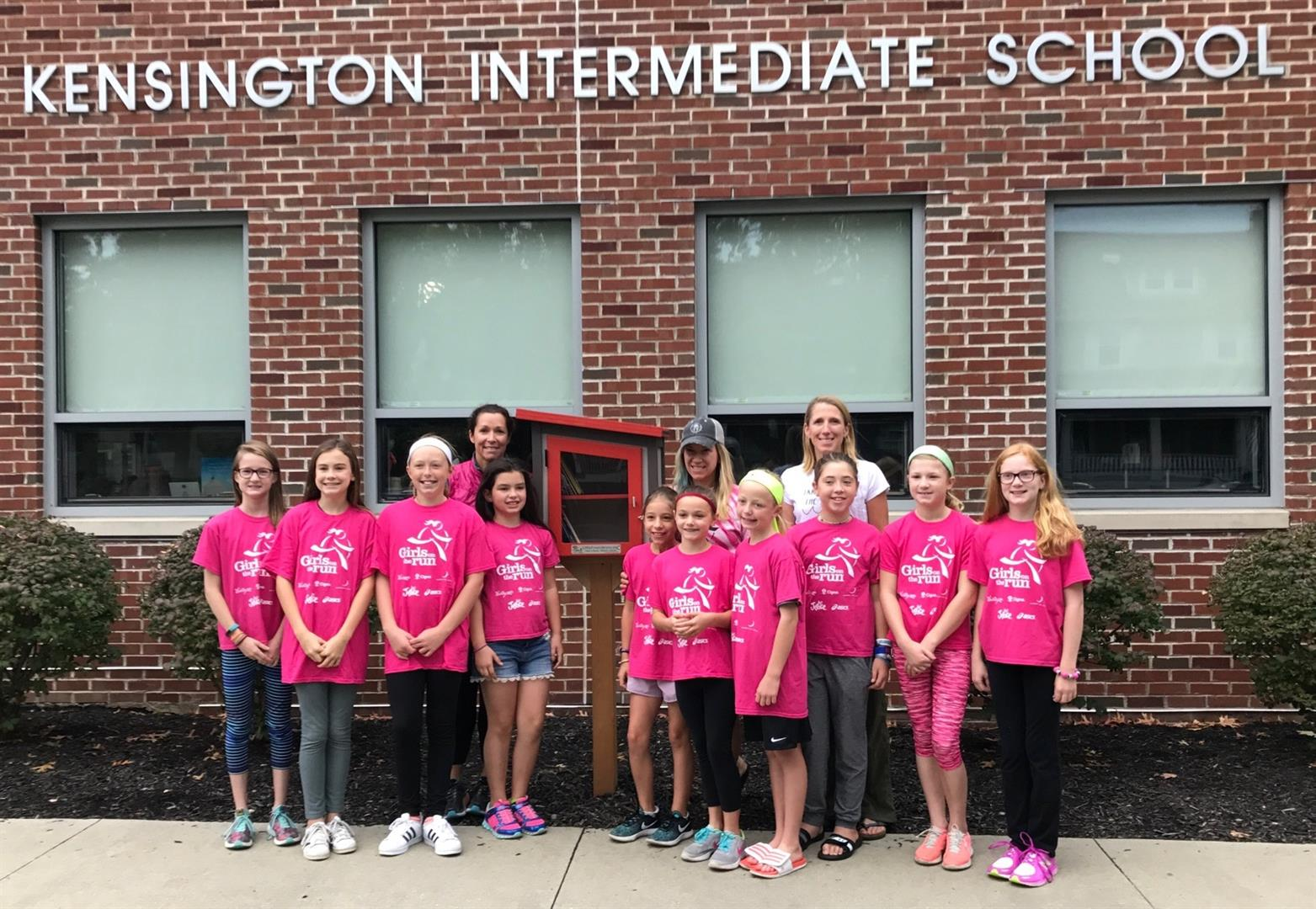 The young ladies from Girls On The Run who inspired the Free Little Library at Kensington Intermediate School.