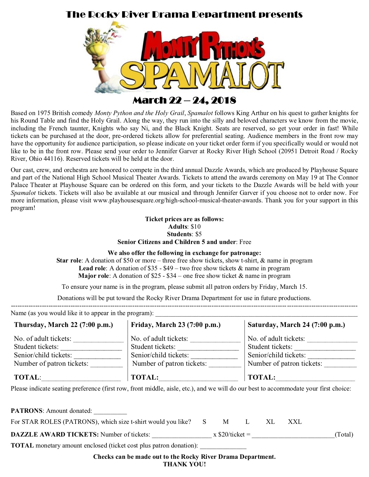 Spamalot TicketOrder Form
