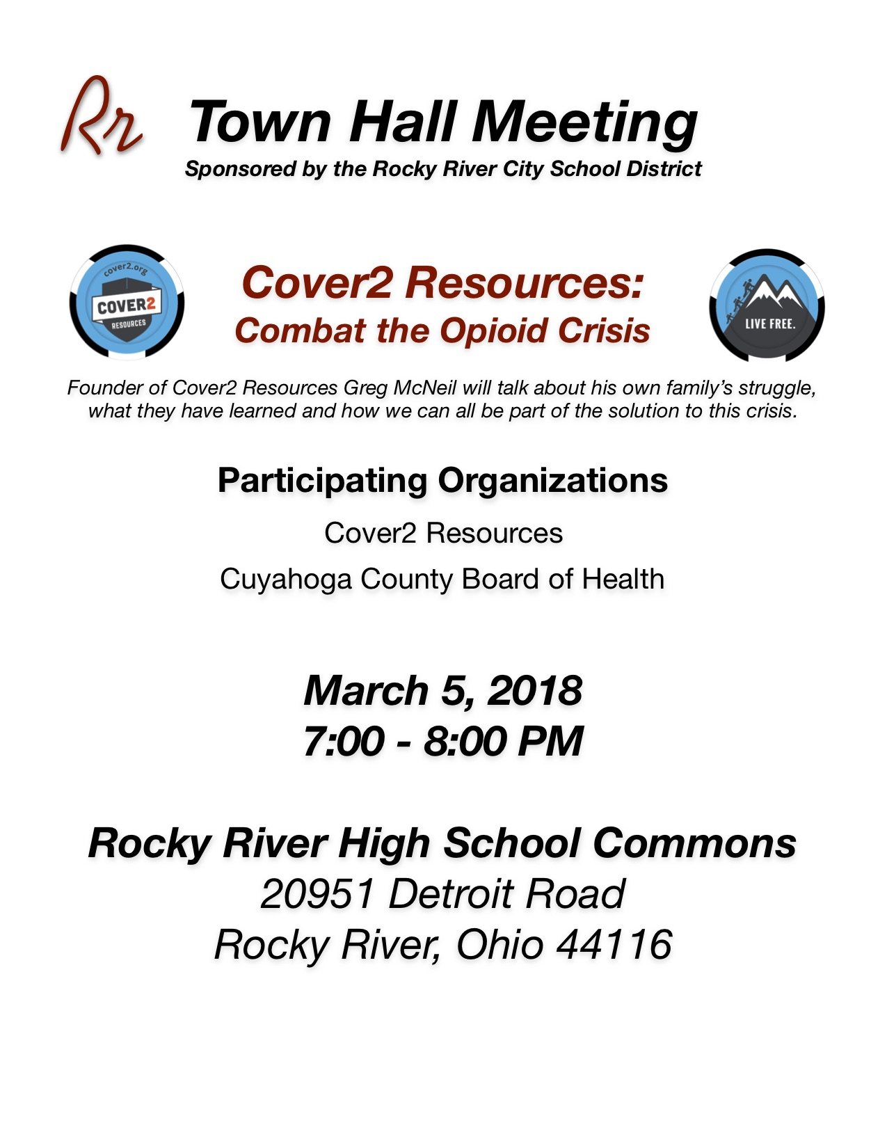 Town Hall Meeting: Cover2 Resources: Combat the Opiod Crisis
