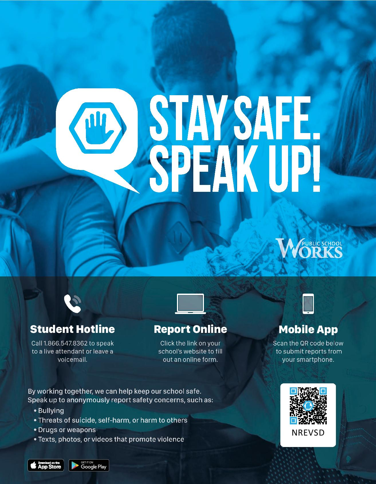 Poster for Stay Safe. Speak Up!