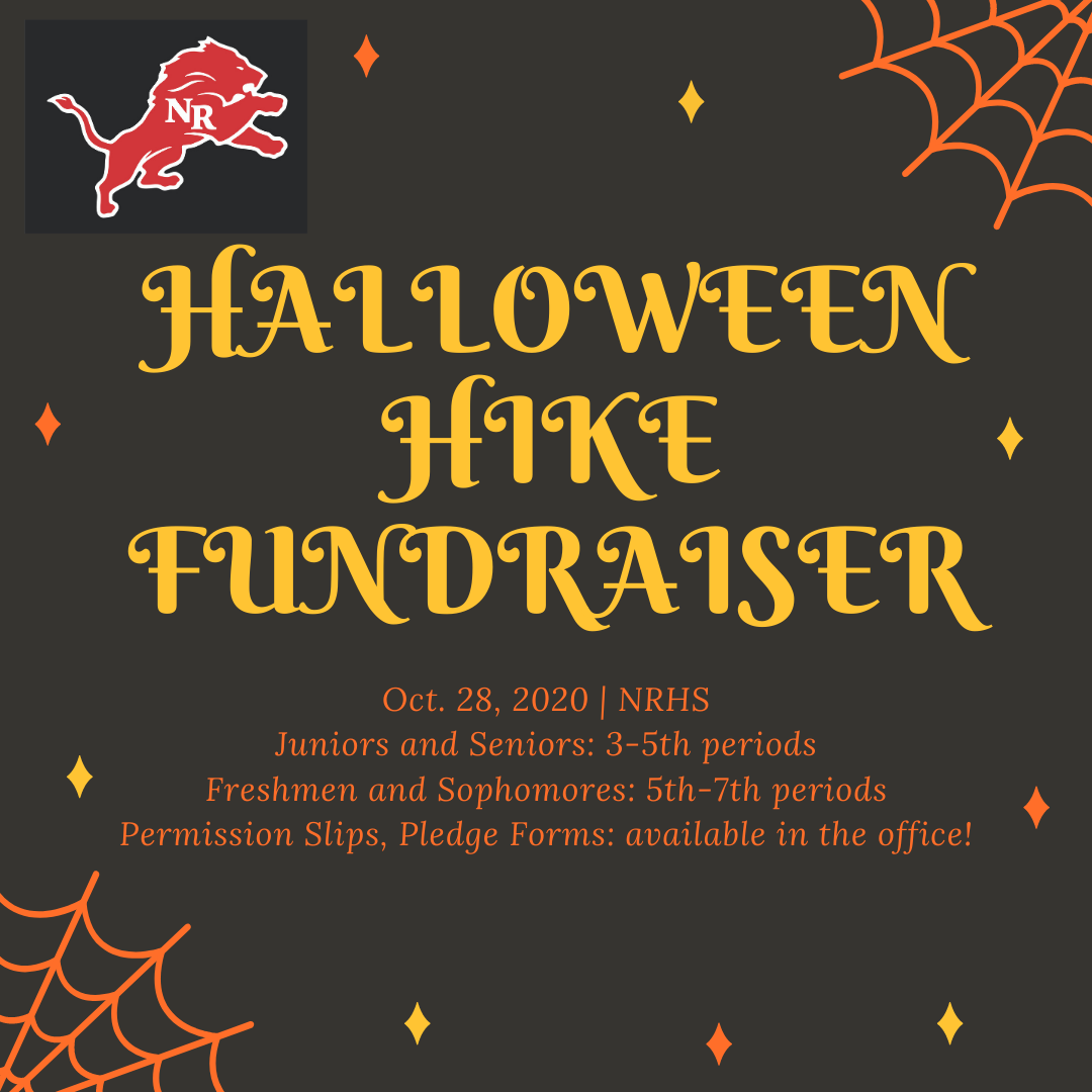 Halloween Hike Fundraiser promo with dates, times