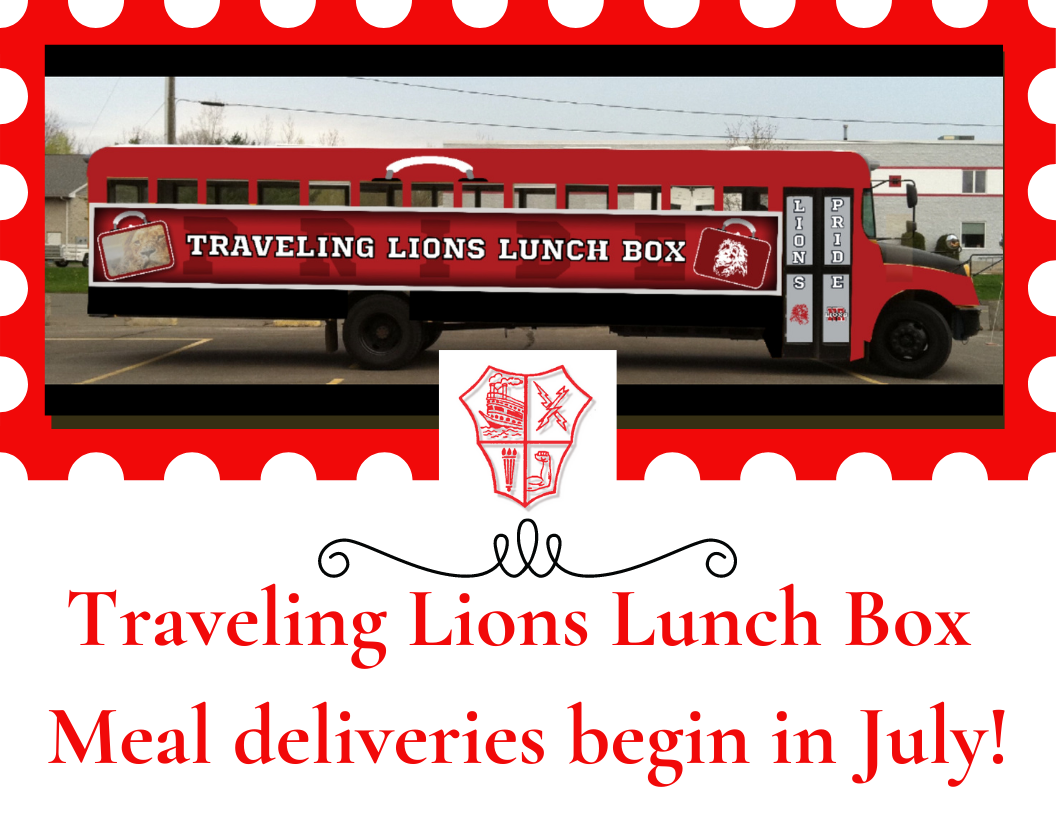 Graphic of traveling lions lunch box